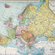 Map: Europe, 1885 Poster