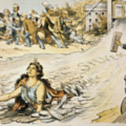 Free Silver Cartoon, 1890 Poster