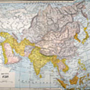 Asia Map Late 19th Century Poster