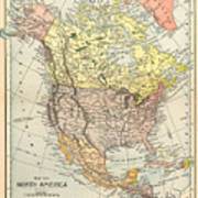 Map: North America, 1890 Poster