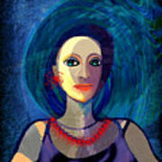 066 Woman With Red Necklace Av Poster