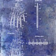 1911 Mechanical Skeleton Patent Blue Poster