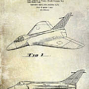 1956 Jet Airplane Patent 2 Blue Poster