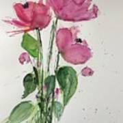 3 Pink Flowers Poster