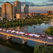 A Beautiful Sunset Falls On The Austin Skyline As Thousands Of Bat Watchers Line The Congress Avenue Bridge During The Annual Bat Fest To Watch The Bats Take Flight Poster