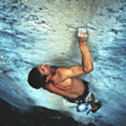 A Caucasian Man Rock Climbing Poster by Bobby Model