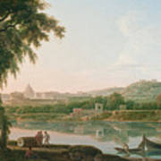 A Distant View Of Rome Across The Tiber Poster