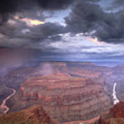A Monsoon Storm In The Grand Canyon Poster by David Edwards