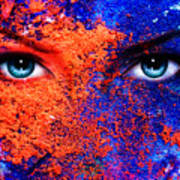 A Pair Of Beautiful Blue Women Eyes Beaming Color Earth Effect Painting Collage Violet Makeup Poster