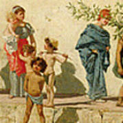 A Roman Street Scene With Musicians And A Performing Monkey Poster