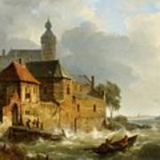 A Rowing Boat In Stormy Seas Near A City Poster