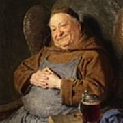 A Seated Monk With A Tankard Poster