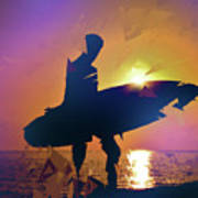 A Surfer Watching The Waves At Sunset Poster