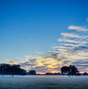 Abstract Early Morning Sunrise Over Farm Land Poster