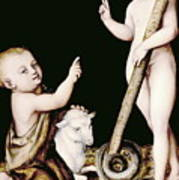 Adoration Of The Child Jesus By St John The Baptist Poster