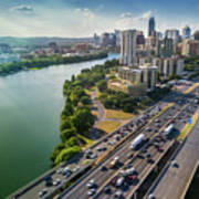 Aerial View Of The Austin Skyline As Rush Hour Traffic Picks Up On I-35 Poster