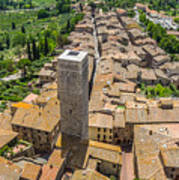 Aerial Wide-angle View Of The Historic Town Of San Gimignano Wit Poster