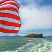 Alcatraz Island With American Flag Poster