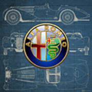 Alfa Romeo 3 D Badge Over 1938 Alfa Romeo 8 C 2900 B Vintage Blueprint Poster