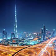 Amazing Night Dubai Downtown Skyline, Dubai, United Arab Emirates Poster