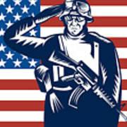 American Soldier Saluting Flag Poster by Aloysius Patrimonio