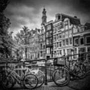 Amsterdam Flower Canal Black And White Poster
