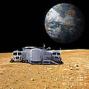 An Artists Depiction Of A Lunar Base Poster