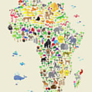 Animal Map Of Africa For Children And Kids Poster