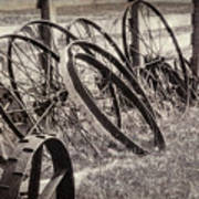 Antique Wagon Wheels I Poster