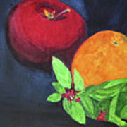 Apple, Orange And Red Basil Poster