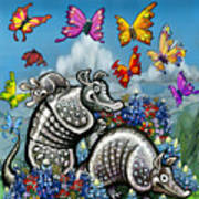 Armadillos Bluebonnets And Butterflies Poster