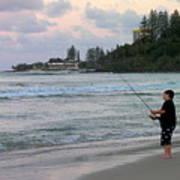 Australia - Fisherman At Greenmount Beach Poster