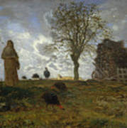 Autumn Landscape With A Flock Of Turkeys Poster