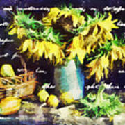 Autumn Sunflowers Poster