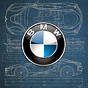 B M W 3 D Badge Over B M W I8 Blueprint  Poster