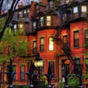 Back Bay Boston Brownstones In Spring Poster