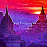Bagan Sunrise Poster