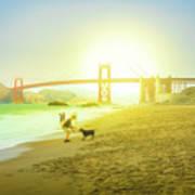 Baker Beach Dog Playing Poster