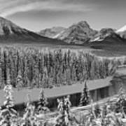 Banff Bow River Black And White Poster