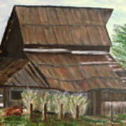 Barn and Cow Poster