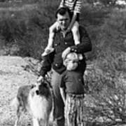 Barry Sadler With Sons And Family Collie Tucson Arizona 1971 Poster