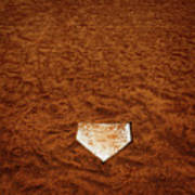 Baseball Homeplate In Brown Dirt For Sports American Past Time Poster