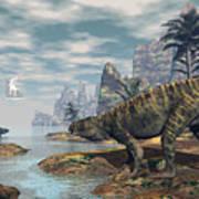 Batrachotomus Dinosaurs -3d Render Poster