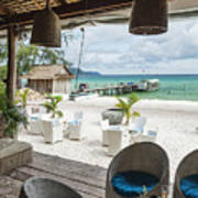 Beach Bar In Sok San Area Of Koh Rong Island Cambodia Poster