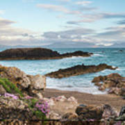 Beautiful Landscape Image Of Rocky Beach With Snowdonia Mountain Poster