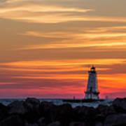 Beautiful Ludington Lighthouse Sunset Poster
