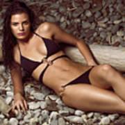 Beautiful Young Woman In Black Bikini On A Pebble Beach Poster by Oleksiy Maksymenko