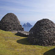 Beehive Stone Huts, Skellig Michael, County Kerry, Ireland Poster