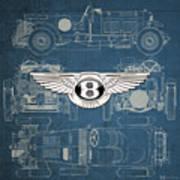 Bentley - 3 D Badge Over 1930 Bentley 4.5 Liter Blower Vintage Blueprint Poster