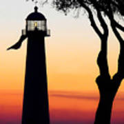 Biloxi Lighthouse At Dusk Poster